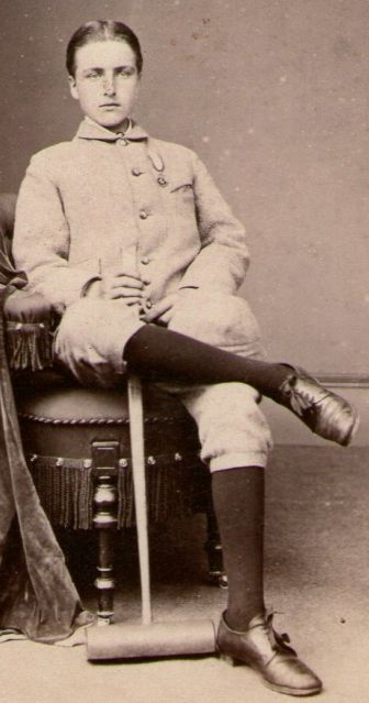 Walter Gray Lawrie wearing the championship medal he has just won (aged 14 in 1878)