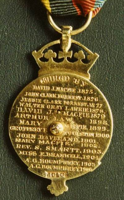 The 'Gleneagles' medal - reverse