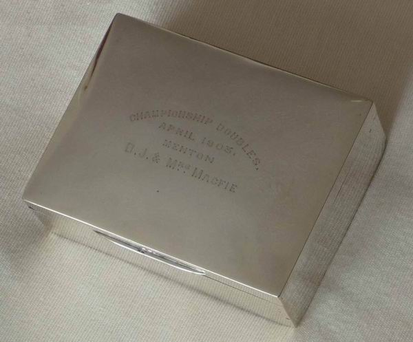 The silver cigarette box awarded for the Riviera Open Doubles Championship in 1903